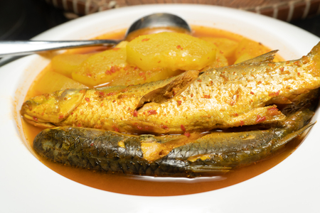 Mullet Fish Curry Orange in White dish, Thai Southern food Banco de Imagens