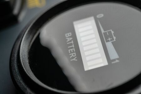 Black Battery Gauge with Icon macro shot