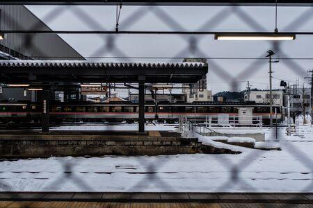 Gifu, Japan - Feb 9, 2018 : Takayama City Railway Station In the snowy winter