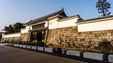 Kyoto, Japan : Feb 11, 2018 : Big wooden gate main entrance of Nijo castle