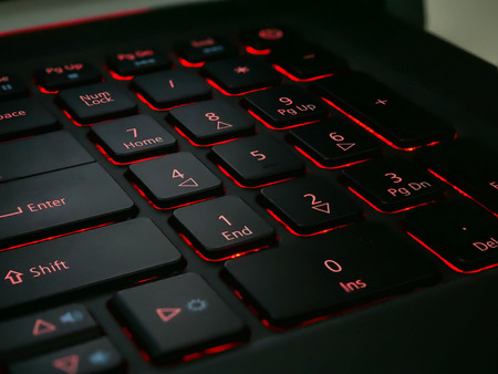 Numpad in Laptop with red led light, Stack focus