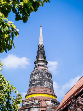 Main Pagoda in Wat Yai Chai Mongkol Temple in historic site of Ayuthaya province