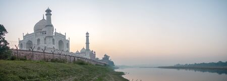 Panorama landscape back side of Taj Mahal by Yamuna river