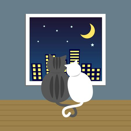 couple lover cat sit together looking outside though window in the night with crescent moon and little star Ilustração