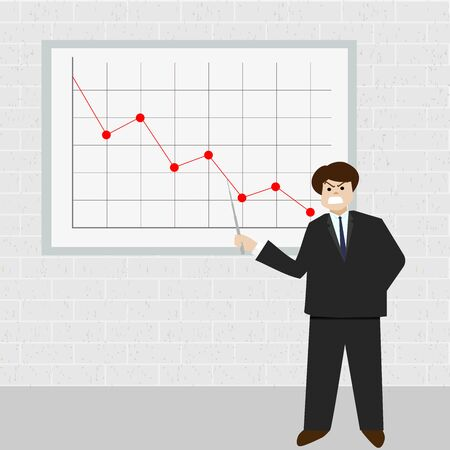 angry business man point at red graph that heading down in white board on brick background