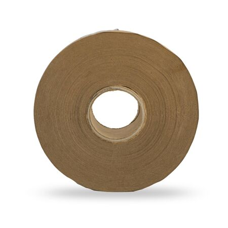 Rotolo di carta marrone su sfondo bianco isolato