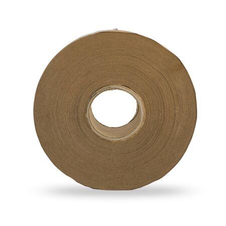 Rouleau de papier brun sur fond blanc isolé