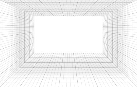 room perspective with thin and bold grid Standard-Bild - 142817163