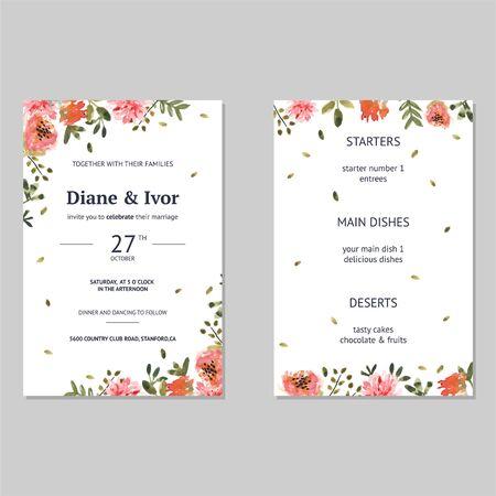 Floral wedding invitation in watercolor