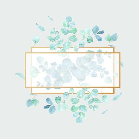 Elegant polygonal frame in watercolor