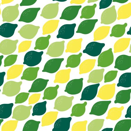 Seamless background with various tropical fruits on white. Vector fruit pattern. Vector