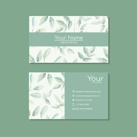 Elegant business card template with flowers  イラスト・ベクター素材