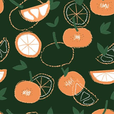 Vector organic fruits pattern with tangerines Banco de Imagens - 131520140