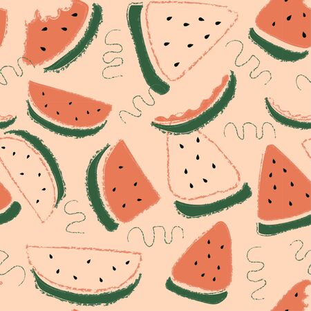 Vector organic fruits pattern with watermelons