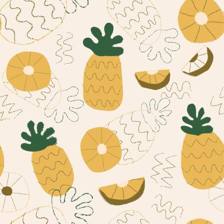 Vector organic fruits pattern with pineapples Banco de Imagens - 131520142