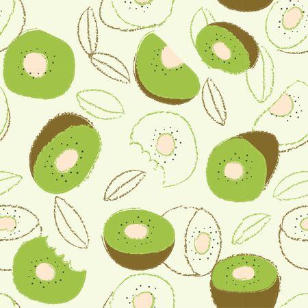 Vector organic fruits pattern with kiwi fruit