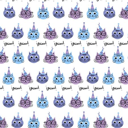 Kids pattern in the colorful style with cats. Vector