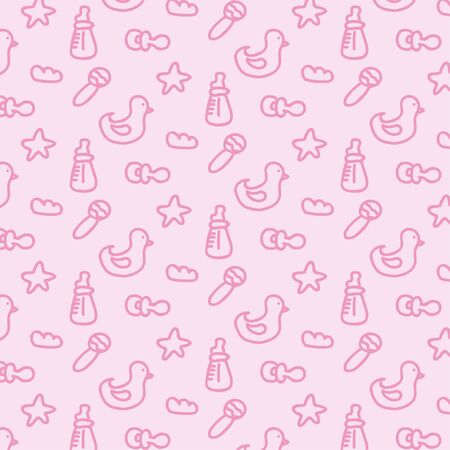 Pattern with vector baby elements Illustration