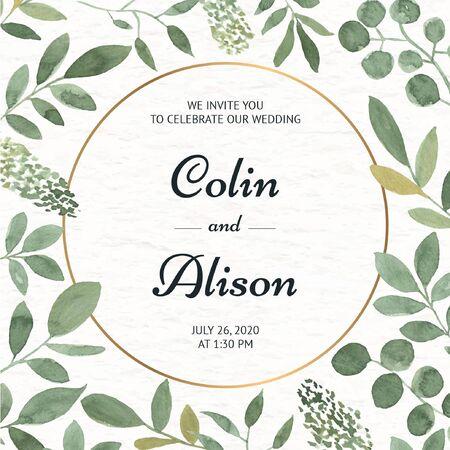 Elegant floral wedding invitation in watercolor Illustration