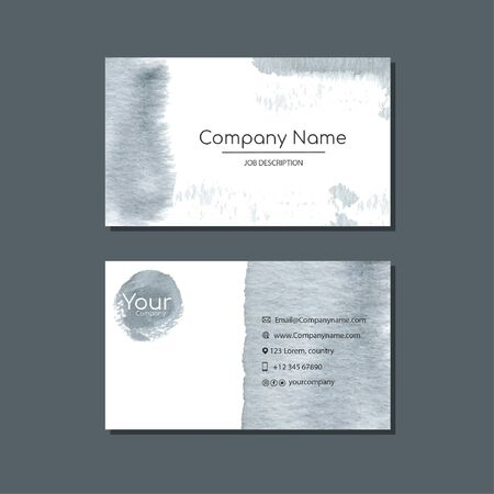 Elegant business card template with flowers in watercolor Vector Illustration