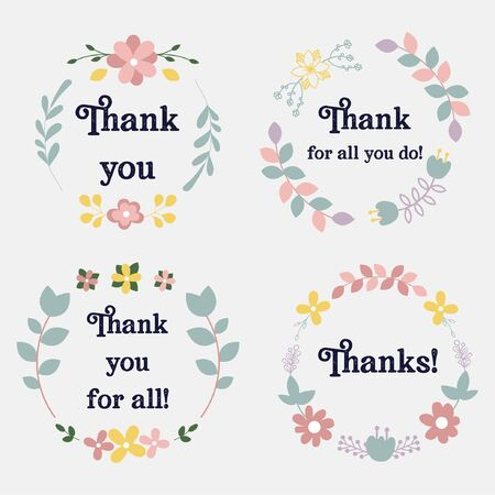 Collection of thank you tags with flowers vector