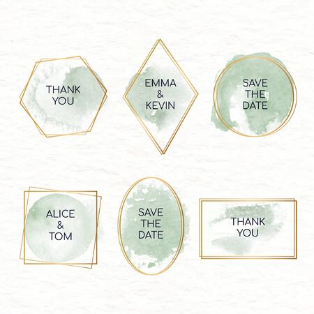 Collection of watercolor stains badges for weddings vector