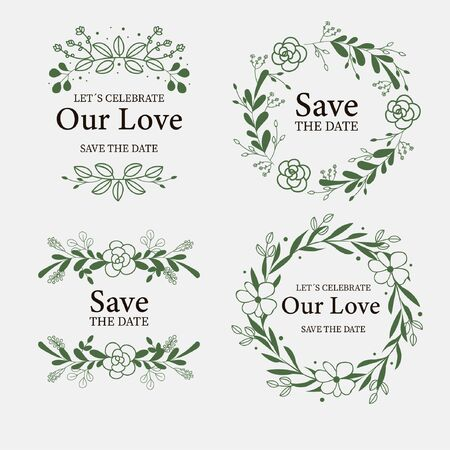 Collection of labels with flowers for weddings vector