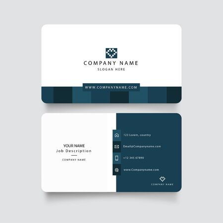 Modern blue business card with abstract shapes vector. Square