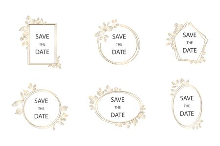 Collection of vector wedding frame logos. Wedding