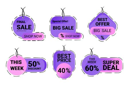 Shopping labels set vector. Banners Business