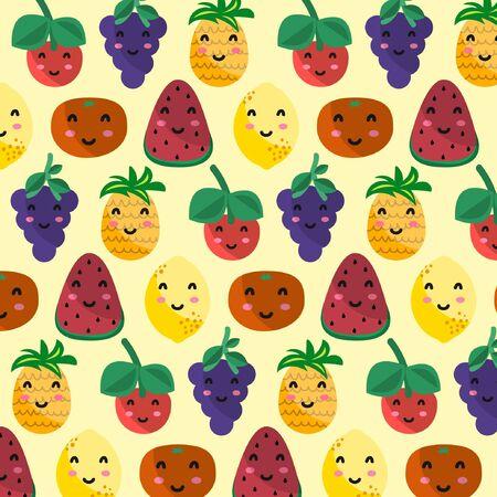 Kawaii fruit pattern Vector Illustration