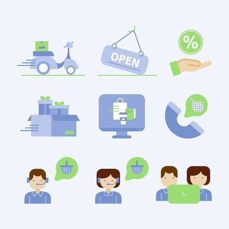 Food delivery service icon set Stock Illustratie