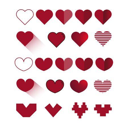 Sammlung von Vektor-illustrierten Herzsymbolen Vektorgrafik