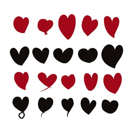 Collection of vector illustrated heart icons
