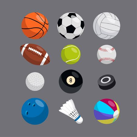 Collection of vector sports elements. Balls. Ilustracja