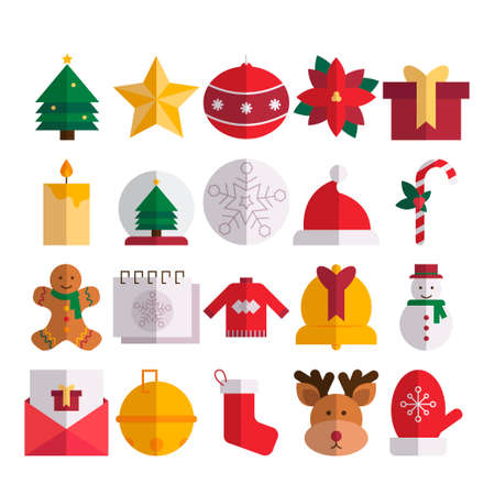 Christmas Icon Pack Flat Stock Illustratie