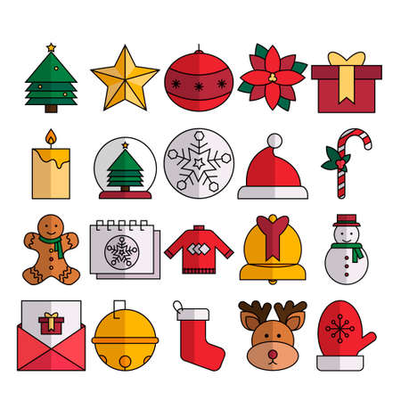 Christmas Icon Pack Lineal Color Stock Illustratie