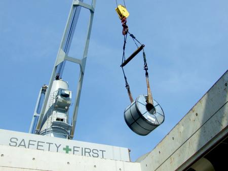 Discharge vertical steel coil