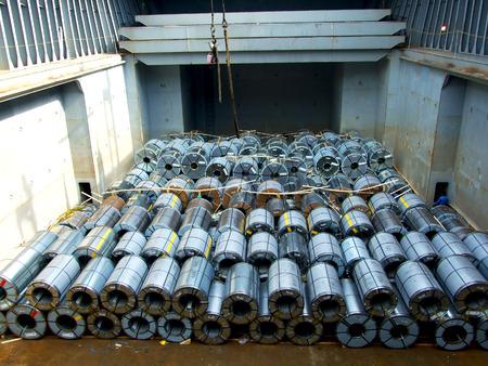 topografo: bobina de acero de estiba Foto de archivo
