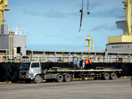 Overland loading from vessel to truck.