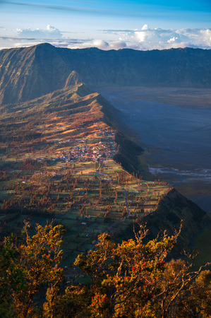 non cultivated land: Cemoro Lawang Village at the Edge of Massive Volcanic Crater  Stock Photo