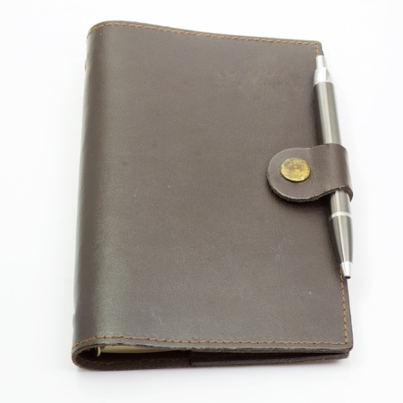 brown leather notebook photo