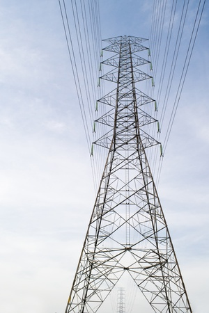 high voltage tower on blue sky Stock Photo - 13367373