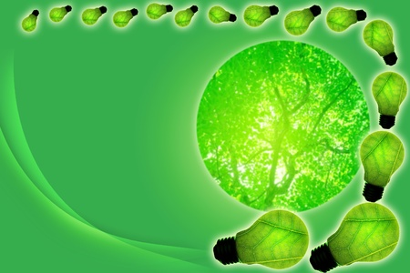 green light bulb concept of green energy photo