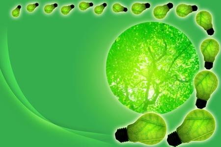 green light bulb concept of green energy photo