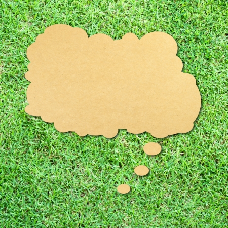 thinking Bubble on green grass background