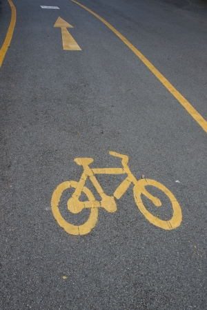 sign of bicycle lane in the park photo