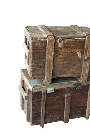 Alte Holz-Boxen isoliert Standard-Bild - 14237413