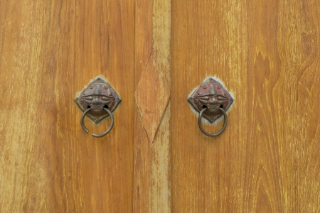 old wood door with knocker photo