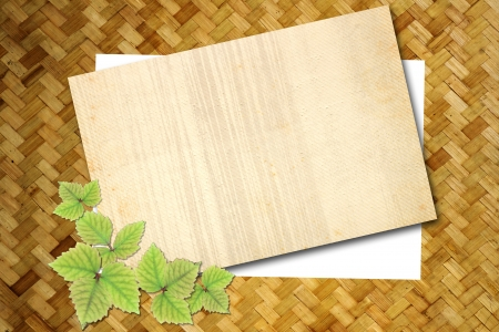 Blank note on old wooden texture Stock Photo